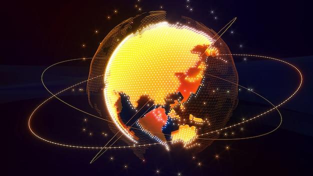 Imagen de la red de comunicación de la imagen del mundo hologramaimagen de red ciencias de la computación conexión del sistema