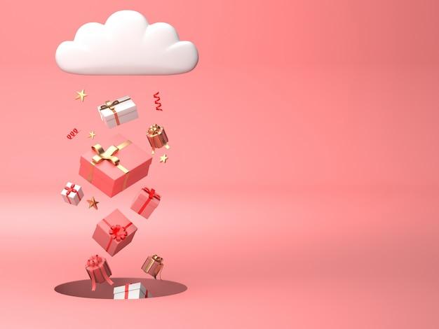 Imagen de render 3d de adornos navideños flotando en el agujero