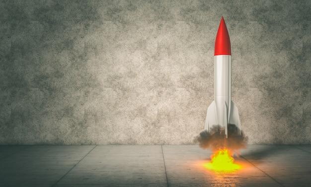 Imagen de render 3d de un cohete a punto de despegar