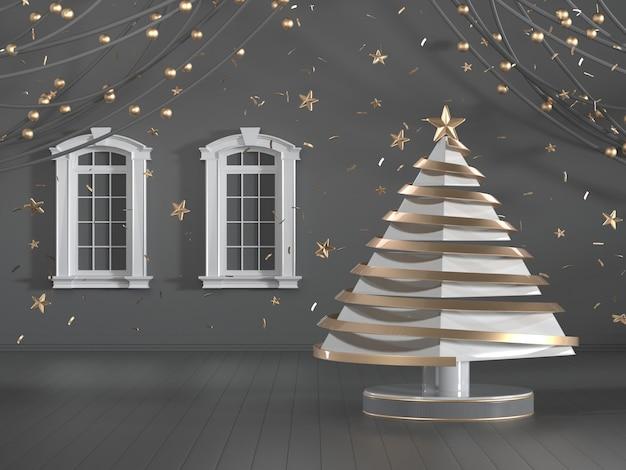 Imagen de render 3d del diseño del árbol de navidad decorar en habitación de lujo negro