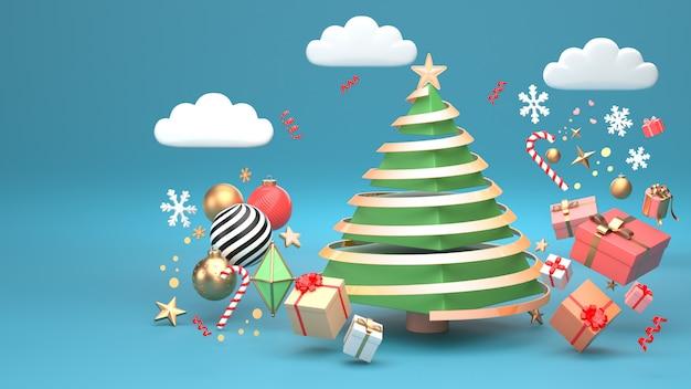 Imagen de render 3d de diseño de árbol de navidad para vacaciones de navidad decorar por forma geométrica de ornamento y caja de regalo.