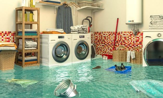 Imagen de render 3d de un interior de una lavandería inundada.