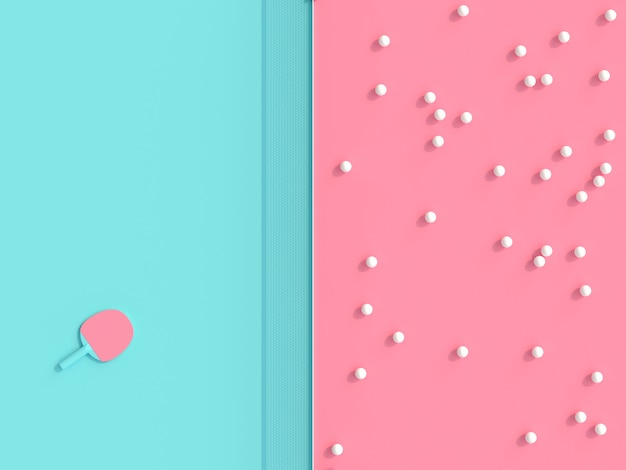 Imagen de render 3d, pelotas y raqueta sobre mesa de juegos en dos colores.