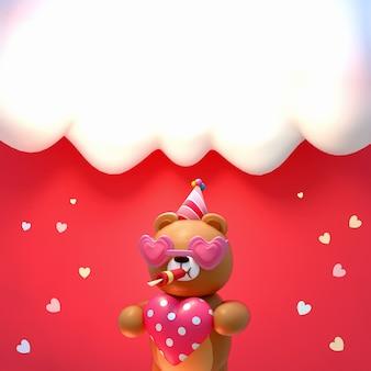 Imagen renderizada en 3d del oso de juguete happy valentines sosteniendo un gran corazón con gorro de fiesta y anteojos