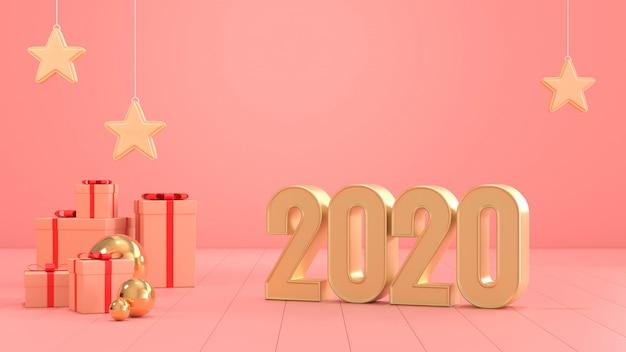 Imagen de renderizado 3d del texto 2020 y caja de regalo mínima