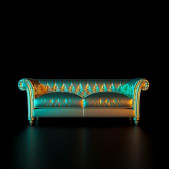 Imagen de un sofá de estilo clásico en color dorado sobre fondo negro.