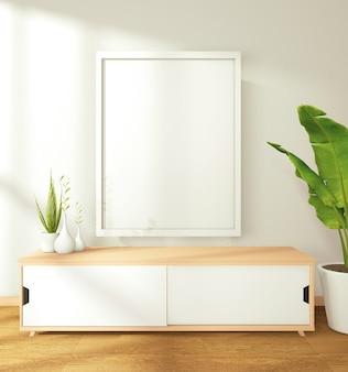 Imagen de un sombrero blanco en la pared y el gabinete e hizo un gran árbol decorado en la moderna sala de estar zen. representación 3d