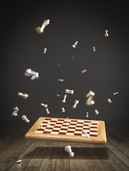 Imagen de un tablero de ajedrez cayendo en el piso de madera