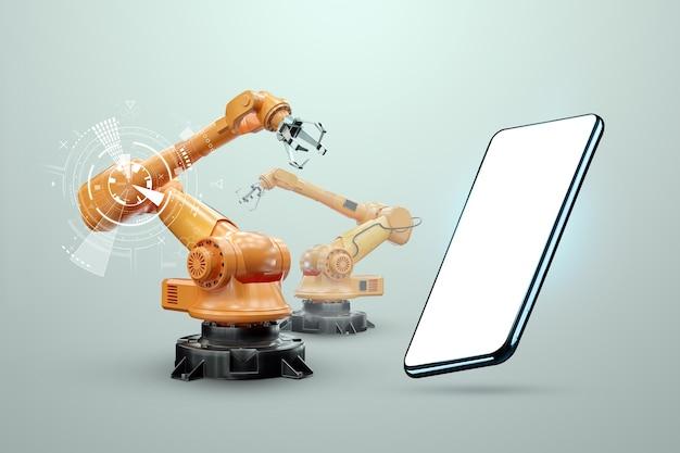 Imagen de un teléfono inteligente en el fondo de brazos robóticos, fábrica moderna. concepto de tecnología iot, fábrica inteligente. operación de fabricación digital. industria 4.0.