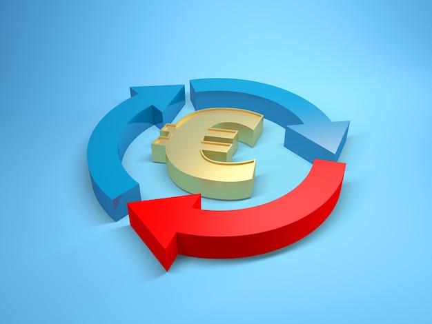 Imagen tridimensional de un símbolo del euro