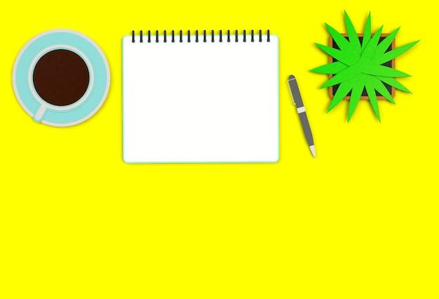Imagen de la vista superior del cuaderno abierto con páginas en blanco junto a la taza de café en la mesa amarilla