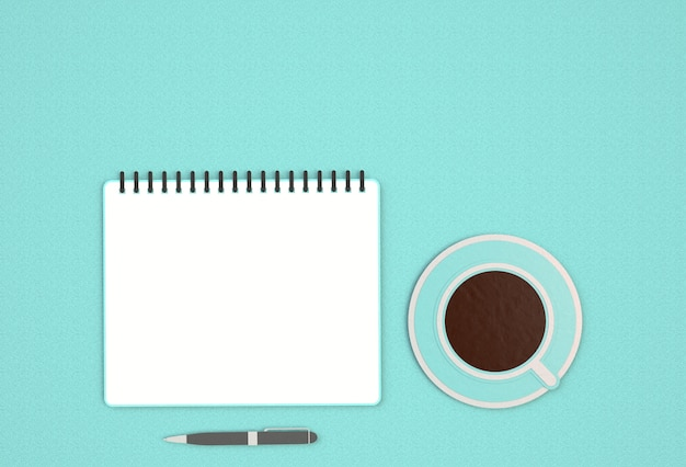 Imagen de la vista superior del cuaderno abierto con páginas en blanco junto a una taza de café