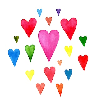 Imágenes de corazones de acuarela pintados a mano lavados multicolores textura de lavado húmedo acuarela
