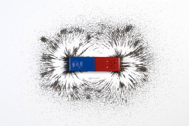 Imán de la barra roja y azul con el campo magnético del polvo de hierro en el fondo blanco.