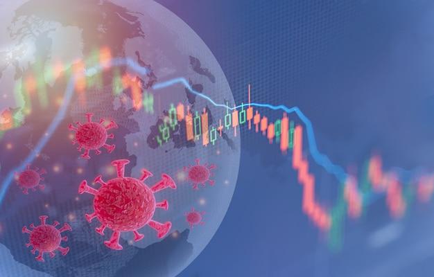 Impacto del coronavirus en la economía global de los mercados de valores concepto de crisis financiera