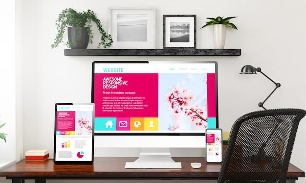 Impresionante colección de dispositivos de diseño receptivo en la representación 3d de la oficina en casa en blanco y negro