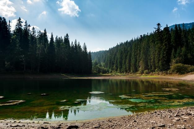 Impresionante paisaje del lago alto en las montañas de los cárpatos