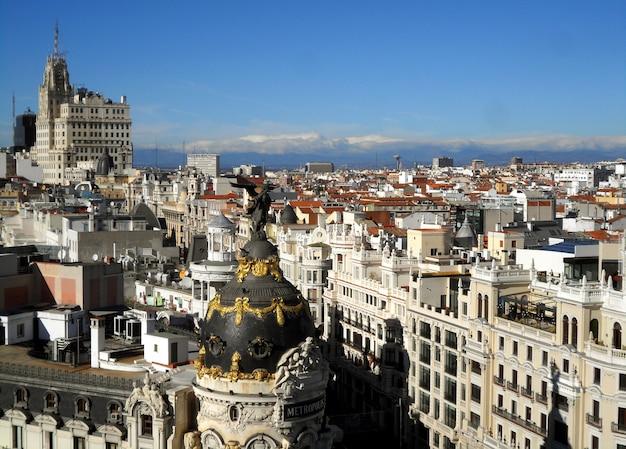 Impresionante vista de alto ángulo del horizonte de madrid, españa