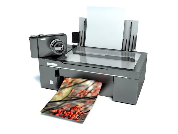 Impresora 3d. impresión de fotos. icono aislado en blanco