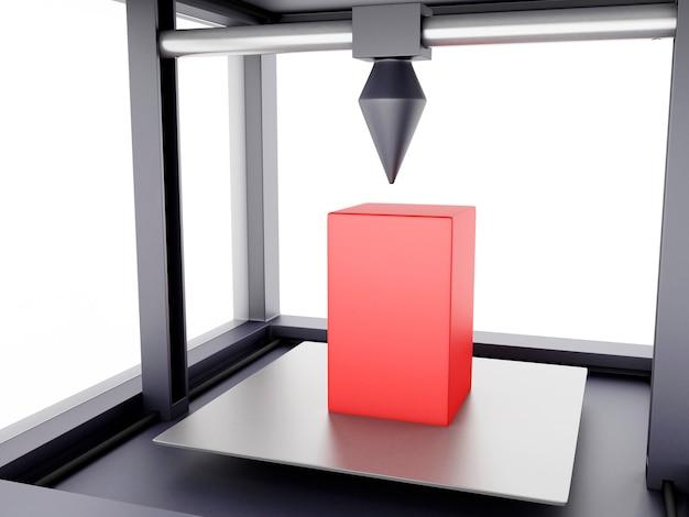 Impresora 3d imprime forma geométrica.