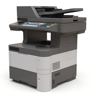 Impresora laser en la superficie blanca