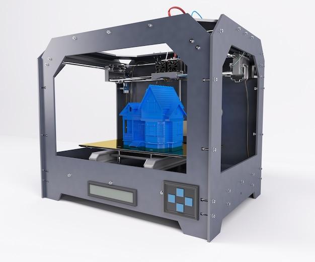 Imprimiendo una casa azul