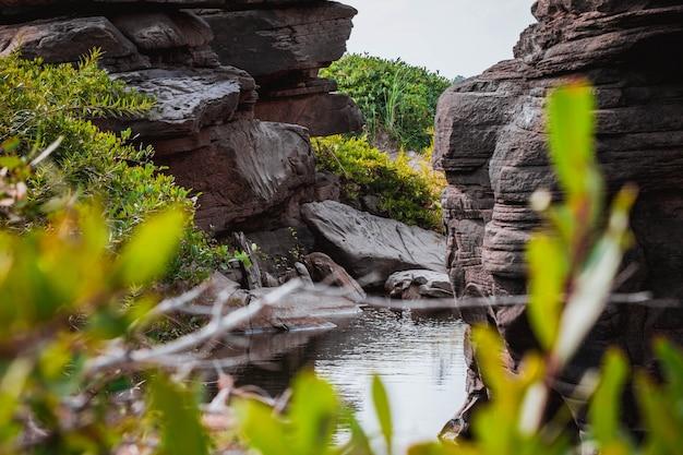 Increíble belleza de las rocas, natural del cañón de roca en el río mekhong, hat chom dao, provincia de ubon ratchathani, noreste de tailandia