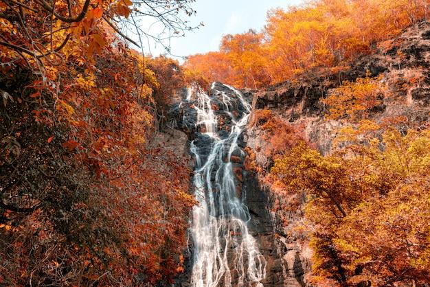 Increíble cascada en las montañas de otoño