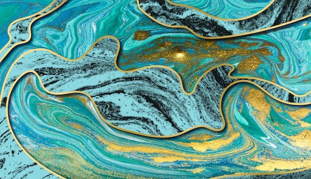 Increíble fondo de ondulación de ágata de oro amarillo de lujo. resumen de onda azul y brillo dorado.