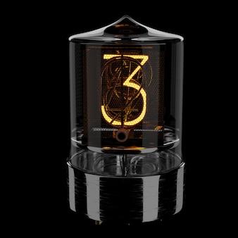 Indicador de tubo nixie, número 3. estilo retro. ilustración 3d prestados.