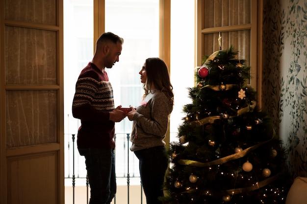 Individuo que presenta el regalo y que mira a la señora cerca de ventana y árbol de navidad