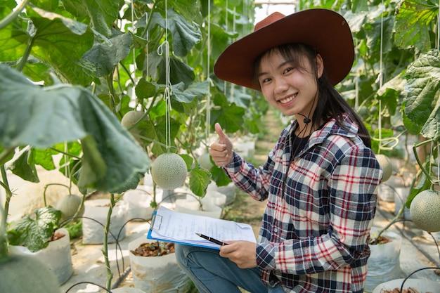 Industria agrícola, agricultura, personas y concepto de granja de melón - feliz sonriente mujer joven o agricultor con portapapeles y melón en invernadero granja mostrando pulgares arriba signo de mano