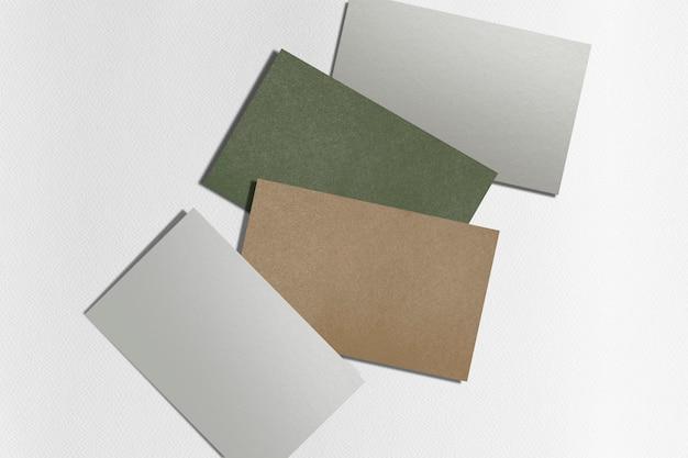 Industria ecológica de sostenibilidad de tarjetas de visita en blanco en multicolor