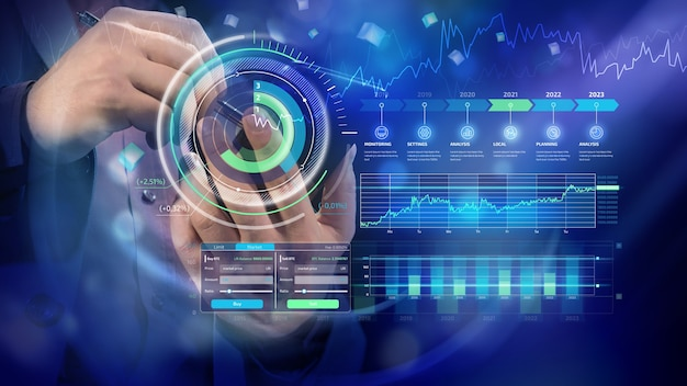 Infografía de desarrollo corporativo holográfico financiero.
