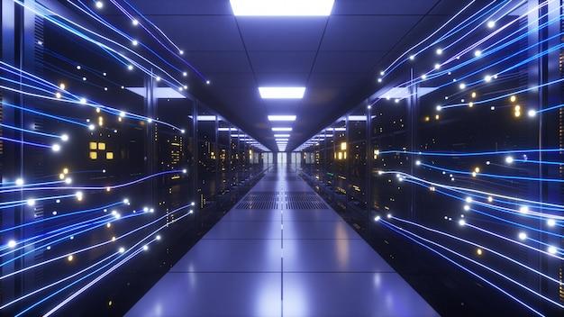 La información digital fluye a través de la red y los servidores de datos.