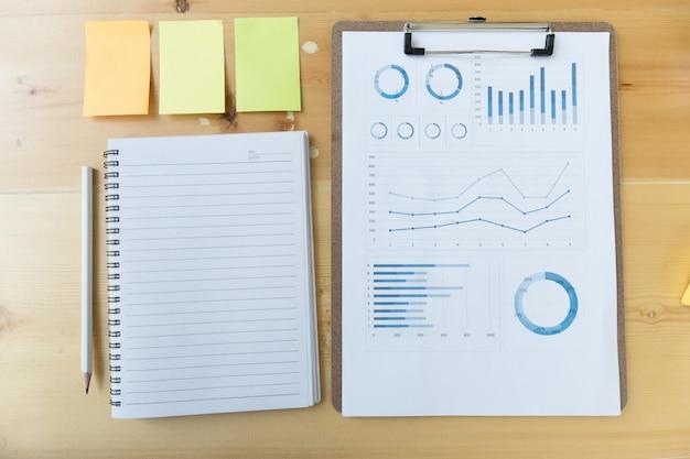 Informe de gráfico y gráfico de marketing con lápiz, cuaderno, nota adhesiva en el escritorio de la oficina del asesor financiero
