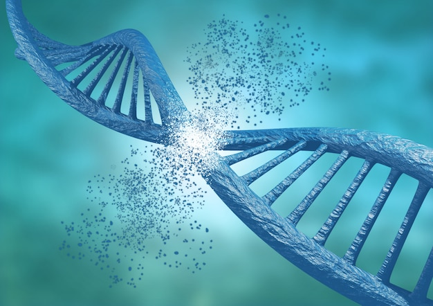 Ingeniería y edición genética a través de la técnica crispr. cadena de adn rompiendo