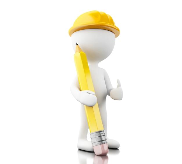Ingeniero 3d con helment y lápiz