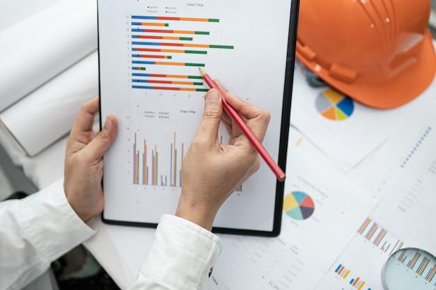 Ingeniero de contabilidad de proyectos de trabajo con casco gráfico y construcción en la oficina, concepto de cuenta de construcción.