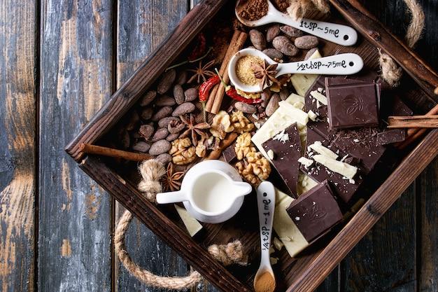 Ingredientes para chocolate caliente