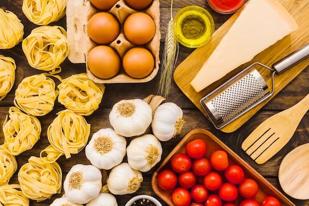 Ingredientes de cocina para la pasta