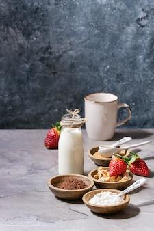 Ingredientes para cocinar pastel de taza
