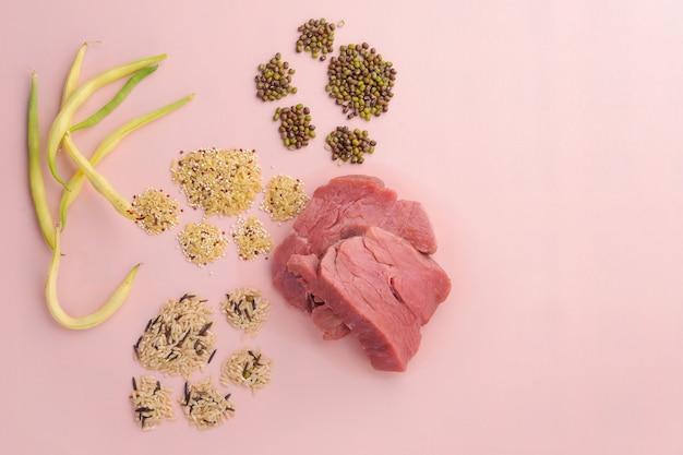 Ingredientes crudos naturales para el alimento de animal doméstico en fondo rosado. lay flat.