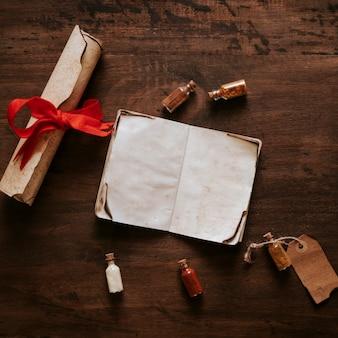 Ingredientes y desplazamiento cerca del cuaderno