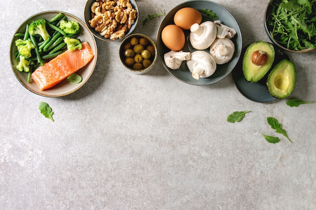 Ingredientes de la dieta cetogénica.