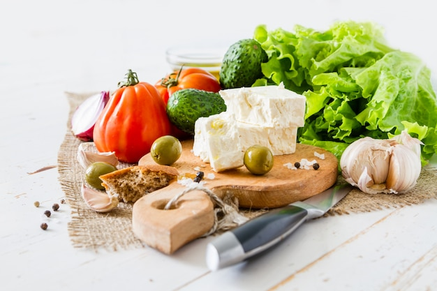 Ingredientes de ensalada griega