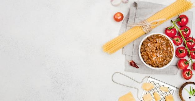 Ingredientes para espagueti a la boloñesa