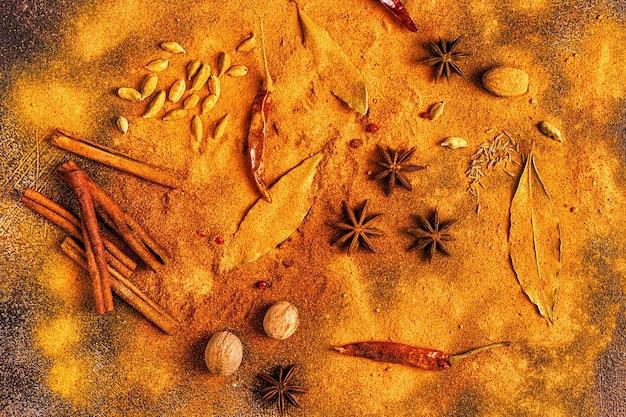 Ingredientes de especias para cocinar