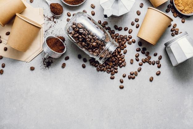 Ingredientes para hacer café plano.