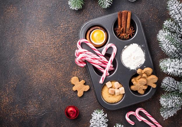 Ingredientes para hornear galletas navideñas